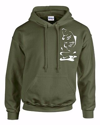 Carp Fishing Clothing  Hoody,  Leaping Carp!  ( Olive Green.) Small To 3Xl.