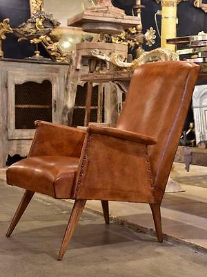 1960's mid century modern French leather armchair club chair