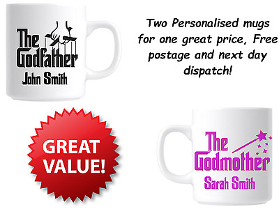 Personalised The Godfather And Godmother Two Mug Gift Set