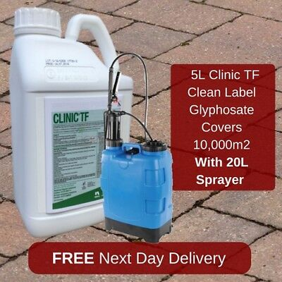 Non Hazardous Clinic Up 5L Weedkiller New Version Of Clinic Ace + Knapsack