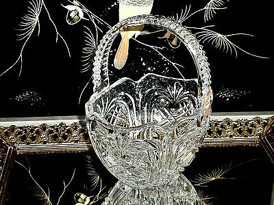 Beautiful Vintage Crystal Basket With Handle By Anna Hutte Bleikristall  Germany