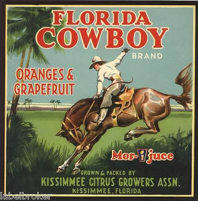 Crate Label Vintage Florida Cowboy Bucking Bronco 30S Kissimmee Original Rodeo 2