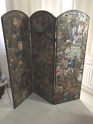 Antique Victorian Three Panel Scrap Screen - Estimated  Approximately 1870