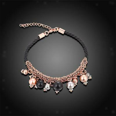1piece Rose Gold Plated cadena de perlas de colores Negro cuerda pulsera