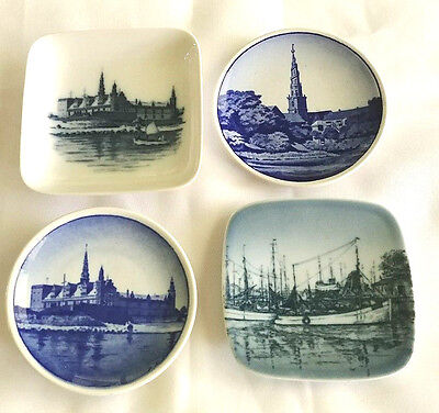 Royal Copenhagen Denmark 4 Mini/Butter Pats Plates Lot of 4 Numbered/Signed