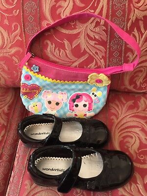 Girls Size 12 Black Dress Shoes And Purse
