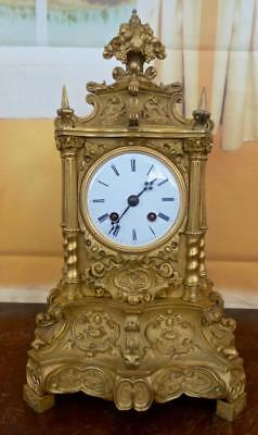 Antique early 1800's French Empire gilt ormolu bronze Mantle Clock by Vincenti