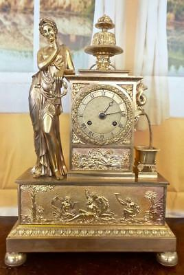 Stunning antique French Empire gilt ormolu bronze classical Figural Mantle Clock