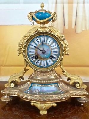 Antique French 19th c gilt ormolu bronze & Sevres porcelain 8 day mantle clock
