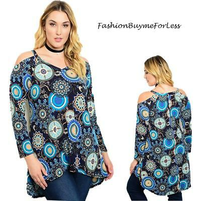 Destiny Boho Mint Paisley Medallion Plus Size Cold Shoulder Dress Top 1X 2X 3X