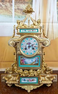 Spectacular antique French 19th c gilt ormolu bronze & Aqua Sevres mantle clock