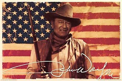 John Wayne Flag Poster 36 x 24 USA United States Duke Cowboy Movie Actor Western