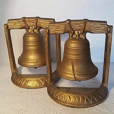 Large GOLD Cast Metal LIBERTY BELL Vintage Bookends MARKED Pair w/ Felted Bases