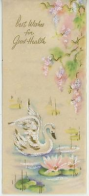 Vintage White Gold Swan Pink Flower Ethereal Distressed Shabby Card Chic Print