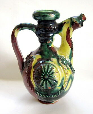 Antique Ottoman Empire Turkish Glazed Red Pottery Ceramic Pitcher Jug Folk Art