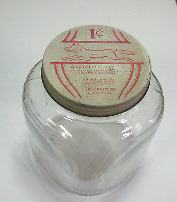 Vintage Fox Candy Co. 1 Cent Candy Jar Penny Candy