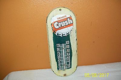 "Vintage 1940's Orange Crush thermometer sign 15"" x 6"""