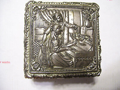 """Vintage Metal Jewelry Trinket Box 2 Women At Piano Footed (3x3x2"""")"""