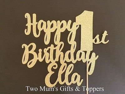 Personalised 1st First Birthday Glitter Cake Topper - 300 GSM