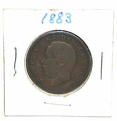 1883 20 Reis Bronze Coin Portugal