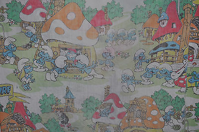 THE SMURFS vintage FITTED BED SHEET 1980s Smurf / PEYO