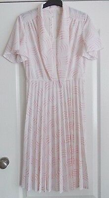 Vintage 1980's Dress White/Red Size 14