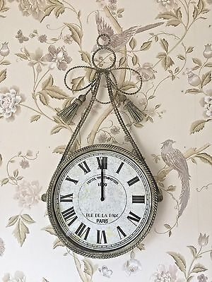 Shabby French Vintage Chic Ornate Bow design Wall Clock Home Decor Gift