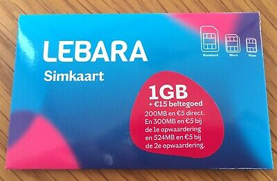 Lebara NL 200MB €5 Prepaid sim card 3G, 4G in Holland karte Netherlands, no ID