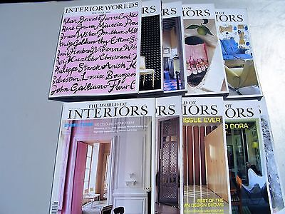 World of Interiors magazines 2000 , 9 issues plus Interior Worlds year 2000.