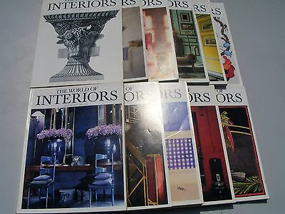 World of Interiors magazines 1986. Full run of 11 copies (July and August combin
