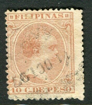 PHILIPPINES;   1890 Baby King Alfonso issue used 10c. value,