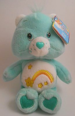 "Care Bears Wish Bear 8"" Bean Bag Plush NEW with Tags 2002 Green Shooting Star"