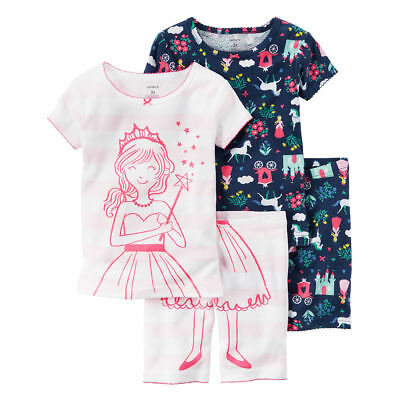 Carters Girls Fairytale 4-Piece Colorful Cotton PJs