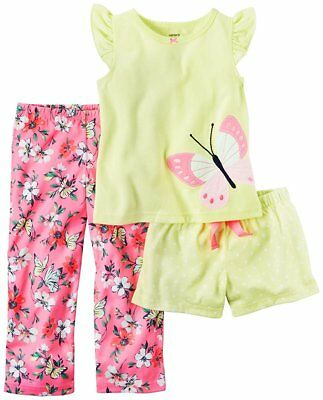 Cater's Girls 3 Piece Butterfly Pajama Set
