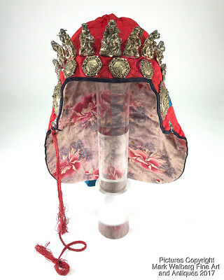 Rare Chinese Silk Textile Child's Hat with Silver 8 Immortals & Shou Lau, 19th C