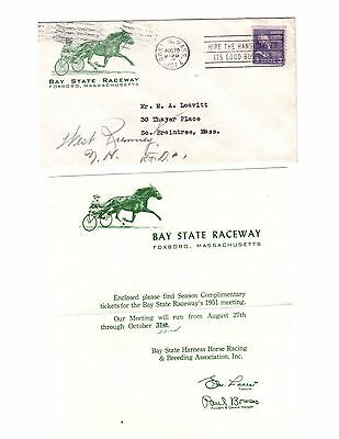 FOXBORO MA, BAY STATE RACEWAY,NEW ENGLAND PATRIOTS FOOTBALL SITE,Cover + Letter