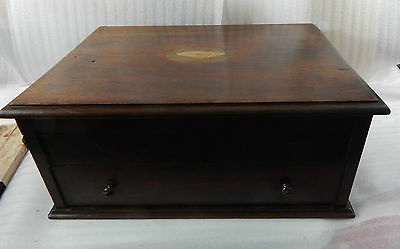 Edwardian Chest inlaid shell lid ,drawer and top compartment cutlery/collectors