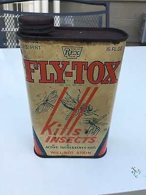 """VINTAGE 1934 """" FLY-TOX"""" INSECT SPRAY CAN  Insecticide Metal Tin"""