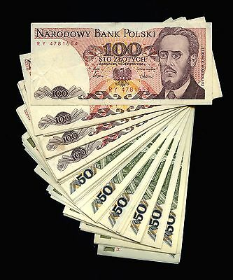 Lot of 120 1986 & 1988 Poland 50 & 100 Zlotych Notes P142 P143 P143E #107707 R