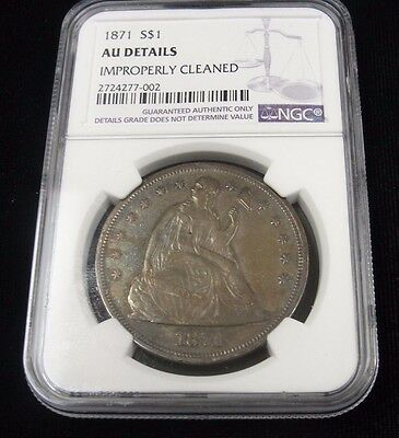 1871 $1 Seated Liberty Silver Dollar! Ngc Au! Rare! Collectible! Gj7002