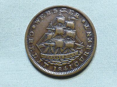 Rare 1841 Hard Times Pre Civil War Token With Ship Image - Webster - Item 241