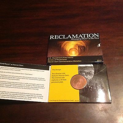 Hoover Dam Reclamation 100% Copper Coin medallion Gold Room 2013 only made 5000