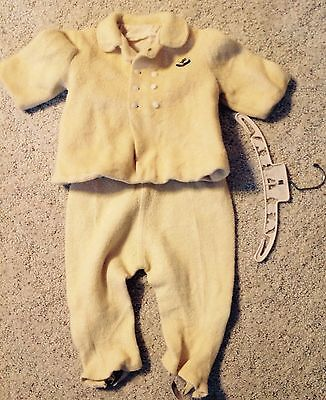 Vintage Yellow Wool Childs Snow Suit Size 2T Swing Coat & Pants 1956