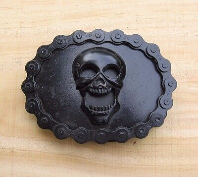 Vintage Black Smiling Skull~Motorcycle Chain Border~Classico Belt Buckle A335