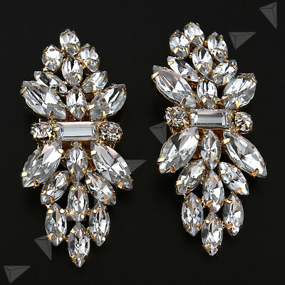 Pair Of Vintage Crystal Shoe Clips Rhinestone Flower Buckle Bridal Wedding Decor