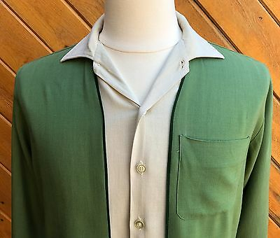 Vtg 50s 60s Green Tri-Tone Linen Weave RAYON Panel Long Sleeve Shirt Jac M/L