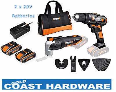 Worx Drill Driver & Sonicrafter Kit Li-ion 20v Lithium WX909