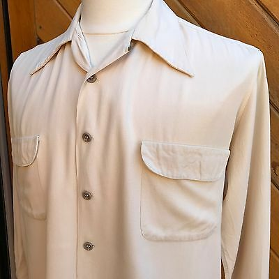 "Vtg 40s 50s CREAM Off White Rayon GABARDINE Flap Pocket Sport Shirt 48"" L XL"