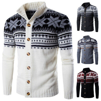 US STOCK Men's Knit Knitwear Cardigan Sweater High Neck Jumper Pullover Coat