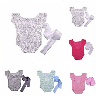 Newborn Infant Baby Lace Romper Bow Back Bodysuit Photo Photography Prop Outfits